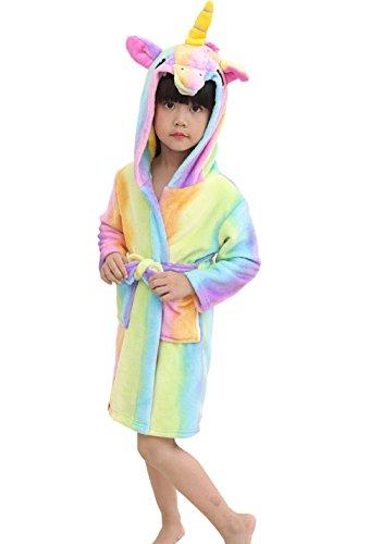 OKSakady Kinder Unicorn mit Kapuze Nachthemd, Kind Unisex Flanell Regenbogen Star Nachtwäsche Tier Cosplay Cartoon Kostüm Homewear Pyjamas für junge Mädchen (Kostüme Uk Hochwertige)