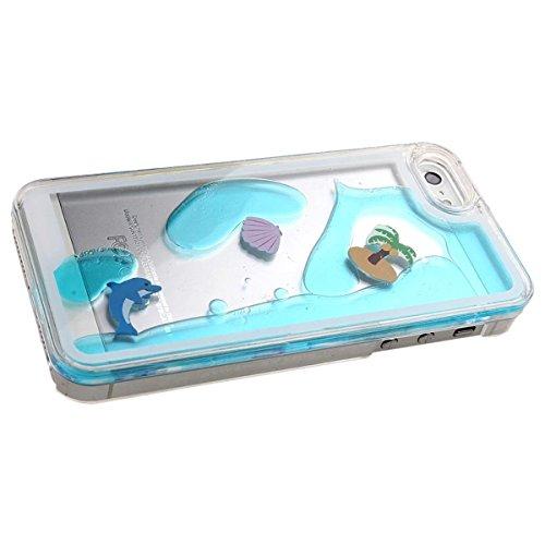 SMARTLEGEND Flowing Liquido PC Cover per iPhone 5 5G 5S / iPhone SE Delfino e Cocco Trasparente Custodia di protezione Bumper Case e Stylus Pen - Cielo blu Cielo blu e Cocco