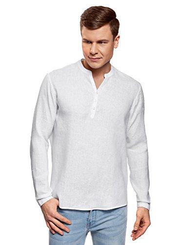 Oodji ultra uomo camicia in lino senza colletto, bianco, 44 сm/it 54 / xl