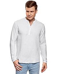 oodji Ultra Hombre Camisa de Lino sin Cuello