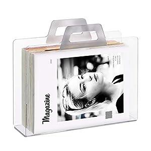 Relaxdays Zeitungsständer, 2 Griffe, Transparente Optik, für Zeitungen & Zeitschriften, Acryl, HxBxT 29x33x10 cm, silber
