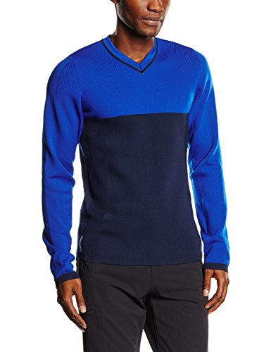 FALKE Herren Skipullover Pullover V-Neck Men, Cobalt, L, 36460