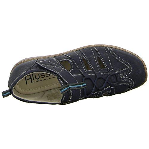 Alyssa 2014P-3 Damen Slipper Halbschuh gelocht oder geflochten diverse Böden Blau (Blau)