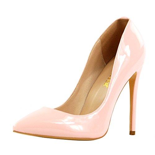 ENMAYER Femmes Sexy Dégradé et Imprimer Stiletto High Heel Pumps Pointe Toe Slip-on Chaussures Plus Size Rose Clair