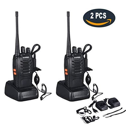 funkgeraete mit headset Walkie Talkie Set mit Headsets,Dpower Baofeng BF-888s Professionelle Funkgeräte 3KM Reichweite 16 Kanäle CTCSS/DCS 400-470MHz UHF Wiederaufladbar Sprechfunkgerät 2-Wege Radio mit Taschenlampe(2 pcs)