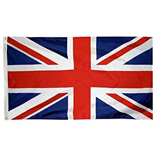 Annin United Kingdom Flag 3x5 ft. Nylon SolarGuard Nyl-Glo 100% Made in USA to Official United Nations Design Specifications Flagmakers. Model 198893