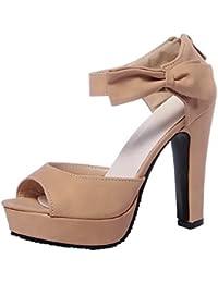 AalarDom Mujer Puntera Abierta Tacón Alto Sólido Sandalias de vestir