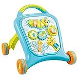 AIBAB Girello Nuovo Passeggino Multifunzione Leggero Per Bambini Camminatore Educativo Velocità Regolabile Rollover Trolley Rosa Blu,Blue
