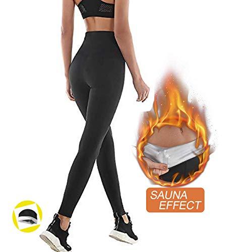 Pantaloni sauna dimagranti, leggings anticellulite donna fitness, legging termici vita alta in nanotechnologie per sudar- effetto snellente e push up - ideale per yoga corsa palestra sport (xl, black)