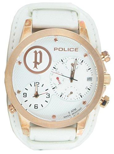 Police p14188jsr-01–Montre de Poignet pour Homme, Bracelet en Cuir Couleur Blanc