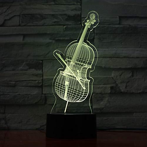 mpe Usb 3D Lampe Violine Instrument 7 Farben Touch Schlafzimmer Lichter Atmosphäre Licht Neuheit Geschenke 3D Nachtlicht ()