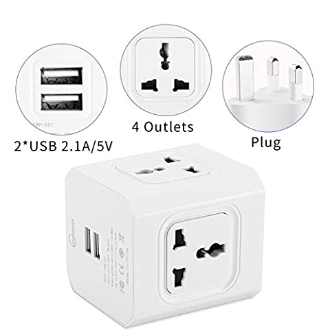 Power Strip, 3M/9.8ft Mini Square Muti-Type Wall Adapter , Power strip with 2 USB and 4 Universal Way outlet White Color by CHUNNUO