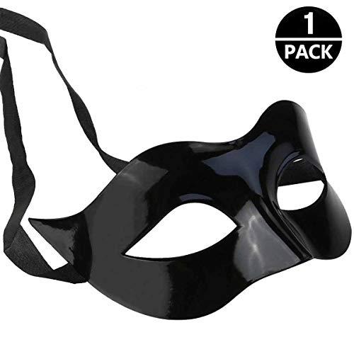 FUMUM Maskerade Maske Herren Venezianische Maske Oper Kostüme Karneval Party für Männer Frauen Party Ball Halloween - Mitternacht Schwarz