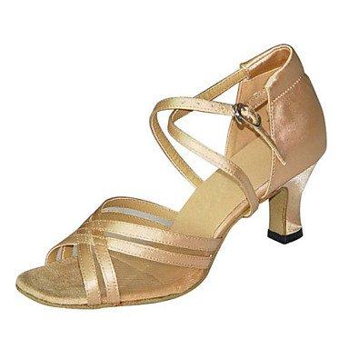Silence @ pour femme Chaussures de danse latine/Swing/Salsa/Samba/similicuir Chunky Talon Noir/marron/autres bronze