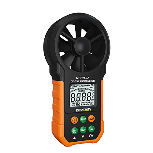 Protmex Windmesser Digitales Anemometer MS6252A Multifunktionales Windgeschwindigkeitsmesser Windmessgerät mit Batterie und Tasche für Windsurfen Drachenfliegen Surfing Segeln Angeln