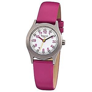 Regent Kinder-Armbanduhr Elegant Analog Leder-Armband pink Quarz-Uhr Ziffernblatt weiß URF946