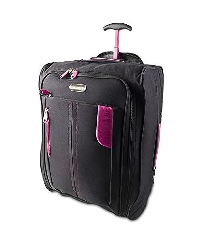 Kabine Tasche Trolly mit Rollen Handgepäck Flight Suit Case für Easyjet, Ryanair, British Airways, Virgin, Flybe, Jet 2 und viele andere Airlines oder Reise (Schwaz / Rosa)