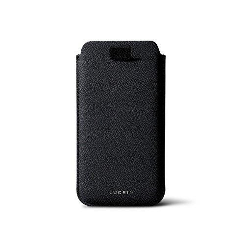Lucrin - IPhone 5/5S/SE Schutzhülle mit zünglein - Rosa Lachs - Ziegenleder Schwarz