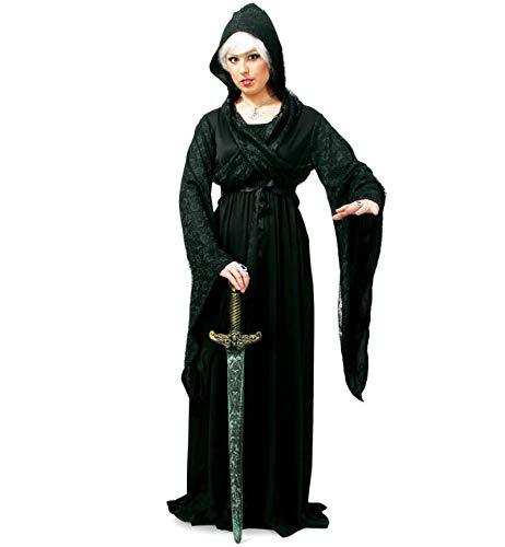 KarnevalsTeufel Damenkostüm Midnight Kleid Inclusive Kapuze, Mitternachtshexe Halloween Karneval (Engel Der Dunkelheit Kostüm)