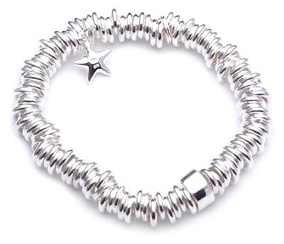 Adara Silver Elasticated Heavy Sweetie Bracelet with Star of Length 18 cm