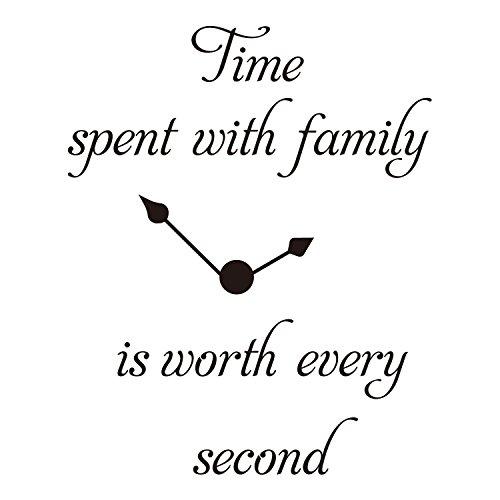 ZSSZ Time Spent with Family is Worth Jede Sekunde Uhr Aufkleber Vinyl Wand Aufkleber Zimmer Dekor Worte - Wörter Schablone Wand