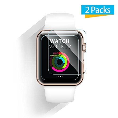 Apple Watch Protector de Pantalla - iXCC 0.3mm [2 Pack] Vidrio Templado Protector de Pantalla para Apple Watch 42mm, Anti-burbujas, resistente a los arañazos [Sólo cubre el área plana]
