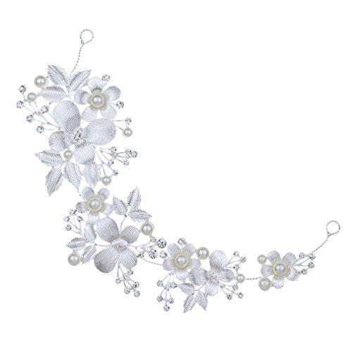 Nupcial de la flor YAZILIND elegante de la perla del Rhinestone de la boda venda cristalina accesorios del pelo para las mujeres