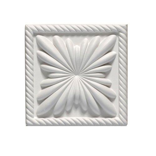 Medallion-block (Focal Point 98900Anatole Block Rosette 45/16Zoll von 45/16Zoll von 11/8Zoll, Grundiert weiß)