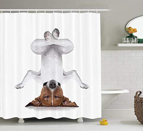 LSB-SHOWER 2019, Yoga Dekor Duschvorhang Hund auf den Kopf Entspannen mit geschlossenen Augen und Yoga Ruhe Therapie Humor Animal Print Badezimmer (Size : 168Wx183H cm)