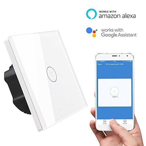 Licht-timer Wandschalter (Glas Touch Lichtschalter WiFi Fernbedienung Wandschalter mit Timer und LED Anzeige Licht (Weiß,1 Fach))