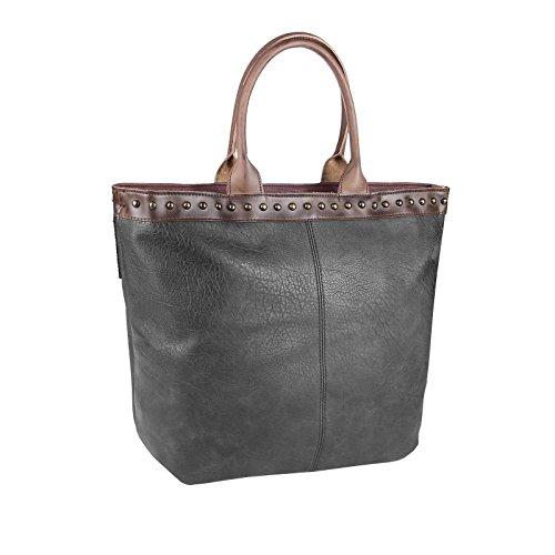 OBC ital-design XXL DAMEN TASCHE HENKELTASCHE DIN-A4 Aktentasche Schultertasche Beuteltasche Handtasche Shopper Weekender Bordo Dunkel-Grau