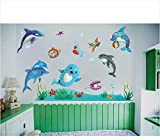 Suuyar 3D Unterwasser Tapeten Wandbilder Sea World Dolphin Fish Wandaufkleber Für Kinder Mädchen Jungen Kind Baby Schlafzimmer Wohnzimmer