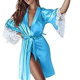 TianWlio Dessous Damen Schlafanzug Unterwäsche Negligees Weihnachten Bademantel Nachtwäsche Seide Kimono Kleider Baby Dolls Dessous Himmelblau L
