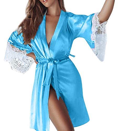 Neu Dessous Set Babydoll Body Mini-RöCke Damen Kleid Nachthemd Spitze NachtwäSche Sexy Negligee TräGer Sleepwear Lingerie Kimono Pyjama TräGerkleid Patchwork öFfnen ZurüCk(Himmelblau,S)