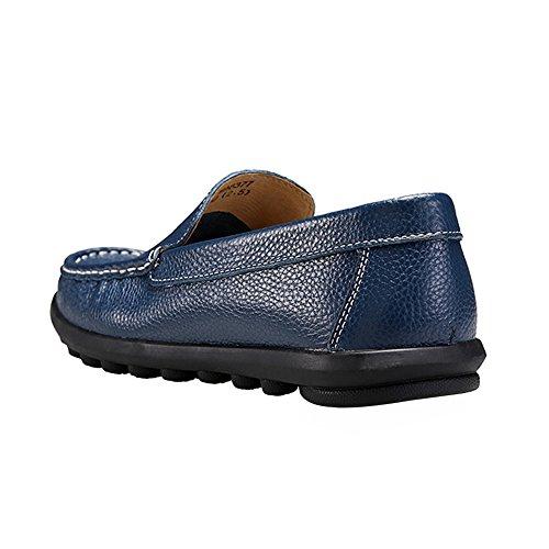Rismart Herren Arbeitsraum überstreifen Komfortabel Echtes Leder Mokassins Schuhe Königsblau