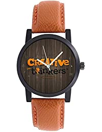 DLG New Creartive Thinkers Theme Brown Round Dial Brown Leather Strap Casual Wrist Watch For Boys And Men DLG-Ar...