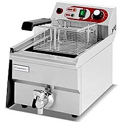 Equipementpro {EF-101V} Friteuse pour la gastronomie 10L 230V friteuse à snacker professionnelle en acier inoxydable avec robinet d'évacuation des graisses - friteuse gastro
