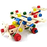 SN Toy Zone Wooden Mechanics with Nuts and Bolts Modelling for Kids with 1 Fancy Gel Pen (Multicolor, Large)