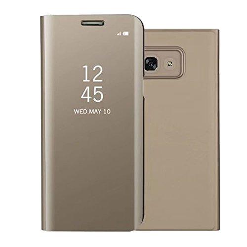 Sycode Luxus Screen Protector Gold Slim Fit Clear Standing View Mirror Spiegel Hülle Beirftasche für Samsung Galaxy A5 2017-Gold Mirror