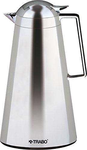 Trabo Elegante Edelstahl-Vakuum Servieren Karaffe, Silber, 1Liter -