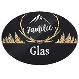 Eurofoto Türschild mit Namen Familie Glas und rustikalem Motiv mit Geweih | für den Innenbereich | Klingelschild mit Nachnamen