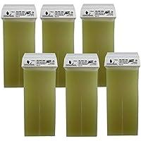 Derma Wax 100% Natural aceitunas Cera de 6x 100ml Cera Cartuchos, cálido Cartuchos de cera, cera depilatoria, Depilación Cera Caliente 100ml
