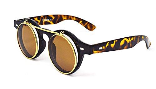 Ultra® Tiger/Leopard Print hochklappen Kreis Steampunk hochwertige Schutzbrille Brille Retro Runde Cyber UV400 Sonnenbrille (Leopard Green)