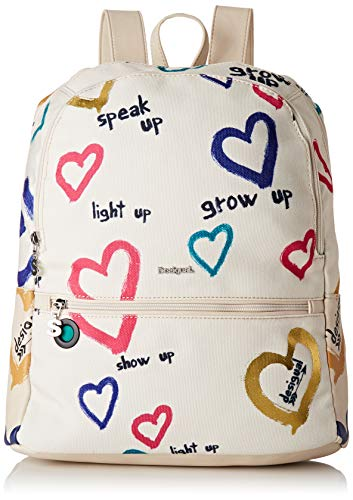 Desigual - Bag Natural Message Novara Women, Bolsos mochila Mujer, Blanco (Crudo), 12x35.3x28.7 cm (B x H T)