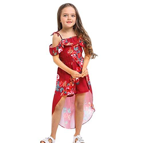 leidung, Sommer Mode Elegant Kleinkind Schulterfrei Blumendruck RüSchen Hosenrock Outfits Sets BeiläUfiges Strand Festlich Partykleid(90,Rot) ()