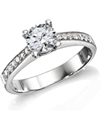 Zertifikat Klassischer 18 Karat (750) Weißgold Damen - Diamant Ring Round 0.90 Karat H-VS2 (Ringgröße 48-63)