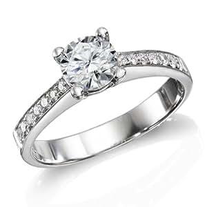 Zertifikat Klassischer 18 Karat (750) Weißgold Damen - Diamant Ring Round 1.23 Karat G-VS2 (Ringgröße 48-63)