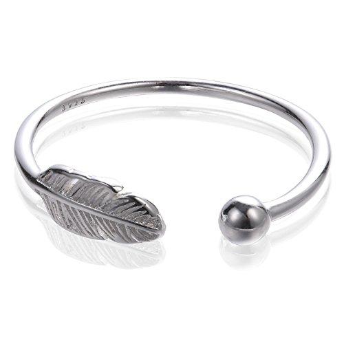 SELUXU Pluma abrir bola hoja moda lindo anillo nueva