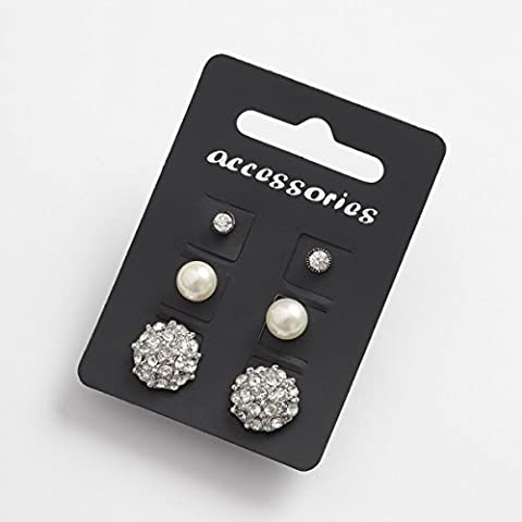 Set Of 3 Pairs Of Stud Earrings ~ Single Inset Stone, Glass Pearl & Diamante ...