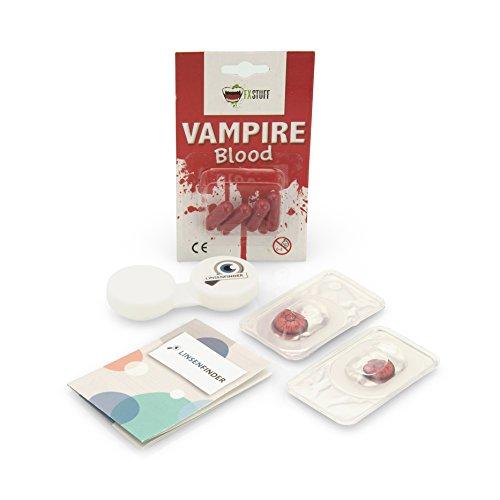 Farbige Kontaktlinsen Vampir MIT STÄRKE -2.00 + Kunstblut Kapseln + Behälter von FXCONTACTS in weiß, weich, im 2er Pack - perfekt zu Halloween, Karneval, Fasching oder Fasnacht - 4